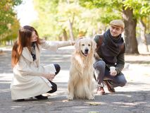 Walk with dog. Couple walk with white dog in the autumn park Royalty Free Stock Image