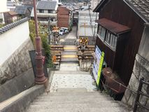 Walk down the ladders from the hill to train intersection, Onomichi, Hiroshima, Japan royalty free stock image