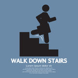 Walk Down Stairs Symbol. Vector Illustration Royalty Free Stock Image