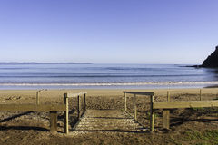 Walk down to the beach, Taipa Beach, New Zealand. Taipa Beach on a beautiful sunny day in Doubtless Bay, Northland, New Zealand Royalty Free Stock Photos