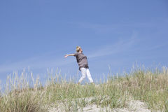 Walk in the dunes Stock Photography