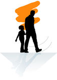 Walk.eps. Father and son are walking Stock Images