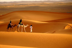Walk in the ERG desert in Morocco stock photo