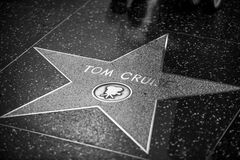Walk of Fame. HOLLYWOOD - JANUARY 3: Tom Cruise's star on Hollywood Walk of Fame on January 3, 2014 in Hollywood, California. This star is located on Hollywood Royalty Free Stock Photos