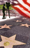 Walk of Fame - Hollywood - USA. The Hollywood Walk of Fame consists of more than 2,400 five-pointed terrazzo and brass stars embedded in the sidewalks along Royalty Free Stock Photography