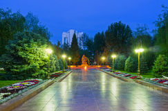 The Walk of Fame. And the Monument to victims of the Second World War - Sad Mother  next to the Eternal Flame, Tashkent, Uzbekistan Royalty Free Stock Photo