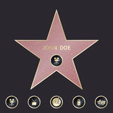 Walk of fame star with emblems symbolize five categories. Vector set. Walk of fame star with emblems symbolize five categories. Star hollywood, famous star Royalty Free Stock Photo