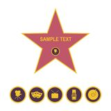 Walk of fame star and icons isolated on white background. Five category signs Royalty Free Stock Images