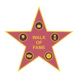 Walk of fame star and icons isolated on white background. Five category signs Stock Photography