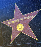 Walk of fame star of Katharine Houghton Hepburn Stock Images
