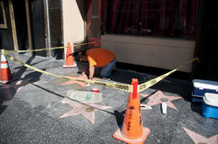 The walk of fame star making process Stock Image