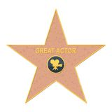 Walk of fame star on white Stock Photo