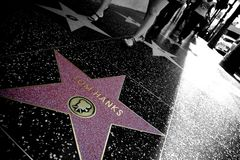 Walk of Fame. The Tom Hanks Star on the Walk of Fame, colored on a black and white background, in Hollywood, California Royalty Free Stock Image