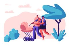 Walk Family with Baby Stroller in Park. Happy Mother and Father Together Walking with Newborn Kid. Parents Spend Leisure Time vector illustration