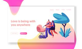 Walk Family with Baby Stroller in Park Landing Page. Parents Spend Time in Open Air with Pram. Happy Mother and Father Walking royalty free illustration