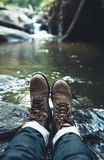 Walk in the forest Natural waterfall. Nature light Stock Photography