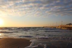 Walk on a fresh beach near the sea royalty free stock images