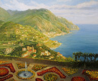 Walk in The Garden of The Gods. An oil painting on canvas of Villa Rufolo formal gardens in Ravello, offering from the terrace a breathtaking panoramic view of Royalty Free Stock Photo
