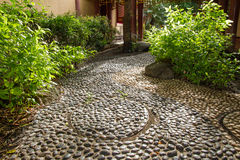 The walk in the garden paved with stones. Stock Images