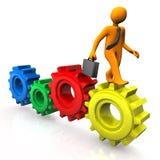 Walk On Gears. Orange cartoon character walks on the colored gears Stock Photography