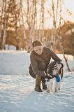 Walk of the girl with a dog 2546. Royalty Free Stock Photo