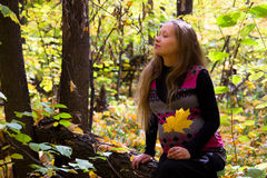 Walk in golden autumn forest expectant mother Stock Image