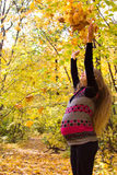 Walk in golden autumn forest expectant mother Stock Photos