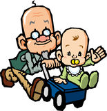 Walk of grandfather and grandson. Old man have a walk with the grandson happily Stock Photos