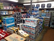 Walk-in grocery store beer cave Royalty Free Stock Photography