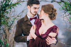 Walk the groom and the bride in the Carpathian mountains Royalty Free Stock Photo