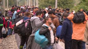 Walk in the hope of a right life-European refuges crisis stock footage