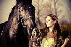 Walk with horse Royalty Free Stock Photography