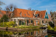 Walk through edam , Holland. Walk through the houses of villages under the sea. There are a lot of relexes in Edam royalty free stock images