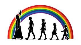 Walk with Jesus, Follow Jesus. Graphic vector royalty free illustration