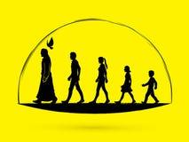 Walk with Jesus, Follow Jesus. Graphic vector Stock Images