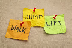 Walk, jump, lift - fitness concept Royalty Free Stock Photography