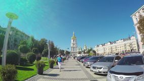 The walk in Kiev. KIEV, UKRAINE - SEPTEMBER 8, 2016: The Vladimirskaya street connects two main squares - St Sophia's and St Michael's, famous for the important stock footage