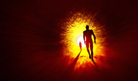 We walk into the light. 3D Illustration two poeple walk into the light Royalty Free Stock Photography