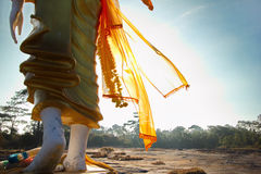 Walk by the light of Dharma. Concept image of the Buddha Walking Dharma light stock photography