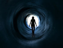 Walk into light. Escape, death vision, paranormal stock image