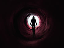 Walk into the light - paranormal - dark red tunnel