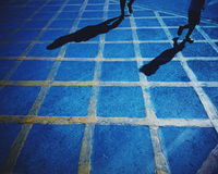 Walk through the line. People walk through the line on the road Royalty Free Stock Photo