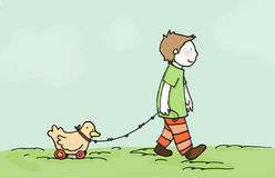 Walk with little friend. A child walk with his little friend! Digital illustration Royalty Free Stock Photo