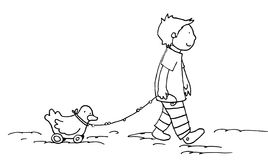 Walk with little friend black and white. A child walk with his little friend! Black and white illustration Stock Photography