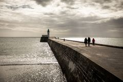 Walk on the little jetty of Les Sables d`Olonne Royalty Free Stock Photo
