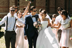 Walk of the married couple and their best friends royalty free stock photo