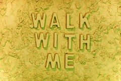 Walk with me. On the beach message in the sand Royalty Free Stock Photography