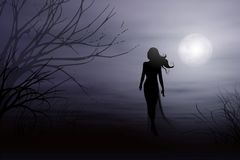 A Walk in The Moonlight. An illistration featuring the figure of a woman walking in a misty moonlight setting Stock Photos