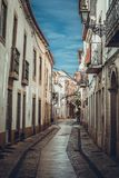 Narrow streets in the city of Tomar. Walk through the narrow and ancient streets in the city of Tomar, Portugal stock photos