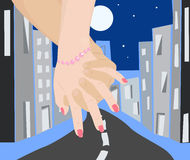 Walk on night city. Couple in love walking on night city. Holding hands.Vector illustration Royalty Free Stock Photos
